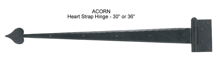 Acorn Heavy Duty Hand Forged Iron Strap Hinges For Garages