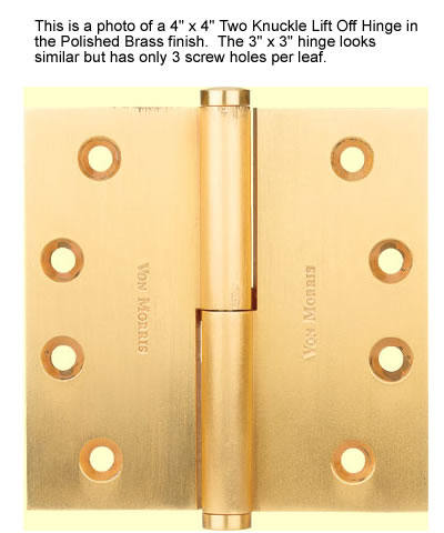 Von Morris Two Knuckle Lift Off Door Hinge Solid Brass