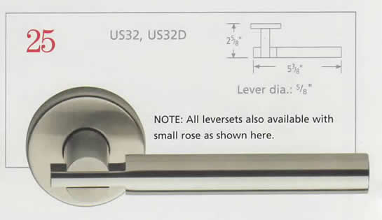 Omnia Stainless Steel Lever 25 with Square Rose Diagram