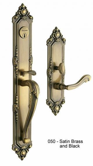 Baldwin Kensington Handle Set in Satin Brass in Black