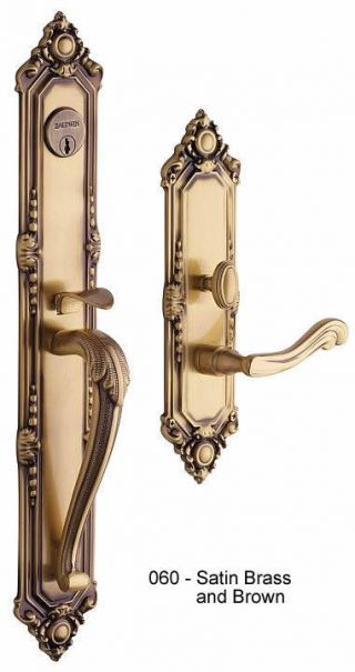 Baldwin Kensington Handle Set in Satin Brass and Brown
